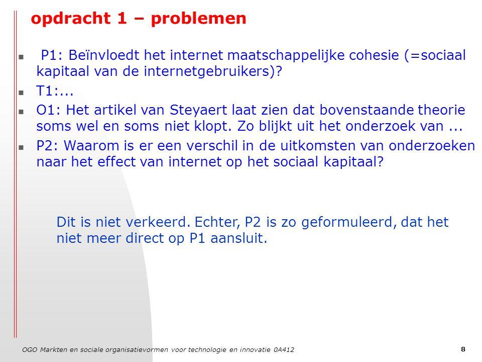OGO Markten en sociale organisatievormen voor technologie en innovatie 0A412 9 opdracht 1 – problemen P1: Beïnvloedt het internet maatschappelijke cohesie (=sociaal kapitaal van de internetgebruikers).