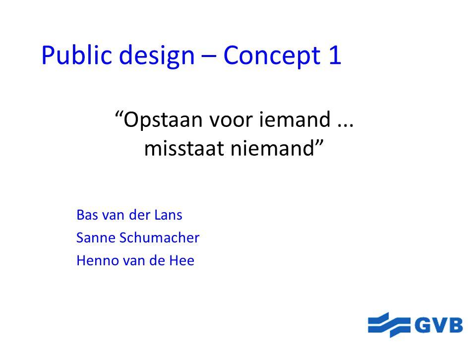 """Public design – Concept 1 Bas van der Lans Sanne Schumacher Henno van de Hee """"Opstaan voor iemand... misstaat niemand"""""""