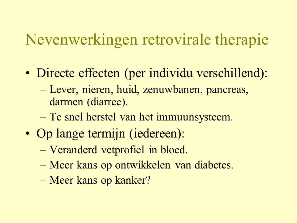 Nevenwerkingen retrovirale therapie Directe effecten (per individu verschillend): –Lever, nieren, huid, zenuwbanen, pancreas, darmen (diarree).