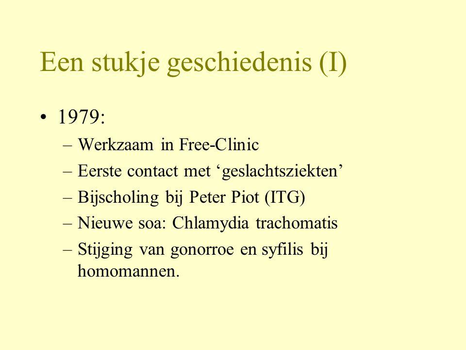 Een stukje geschiedenis (I) 1979: –Werkzaam in Free-Clinic –Eerste contact met 'geslachtsziekten' –Bijscholing bij Peter Piot (ITG) –Nieuwe soa: Chlamydia trachomatis –Stijging van gonorroe en syfilis bij homomannen.