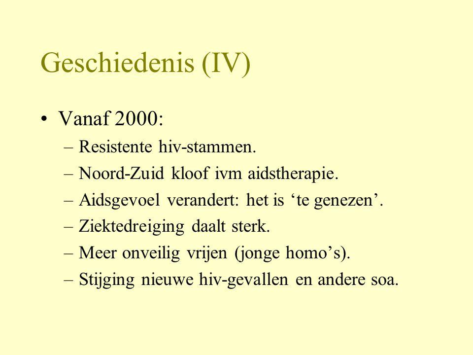 Geschiedenis (IV) Vanaf 2000: –Resistente hiv-stammen.