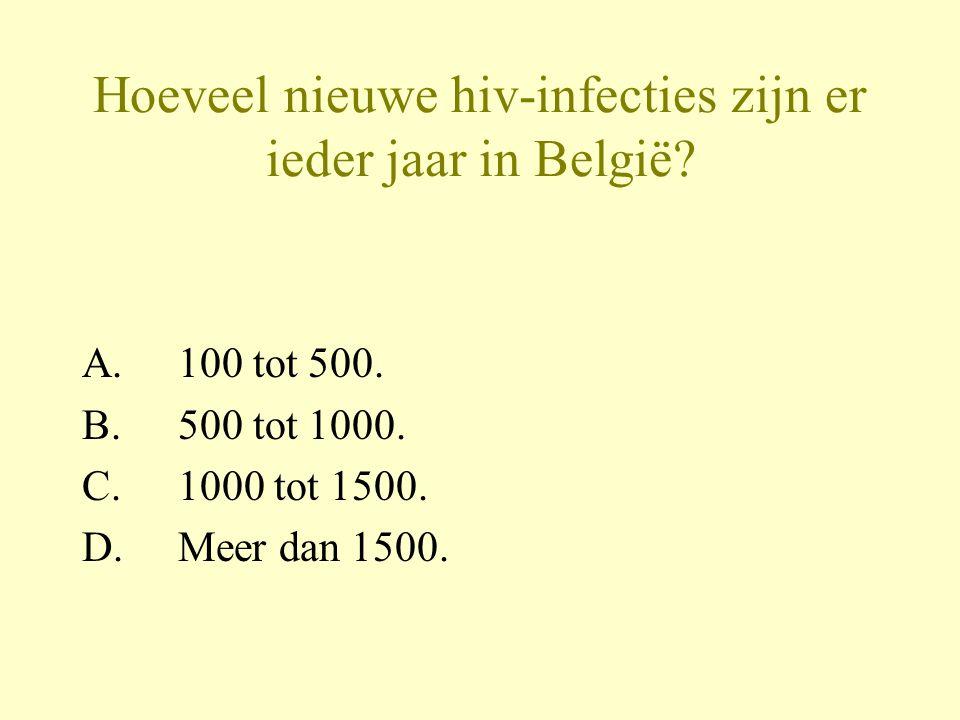 Hoeveel nieuwe hiv-infecties zijn er ieder jaar in België.