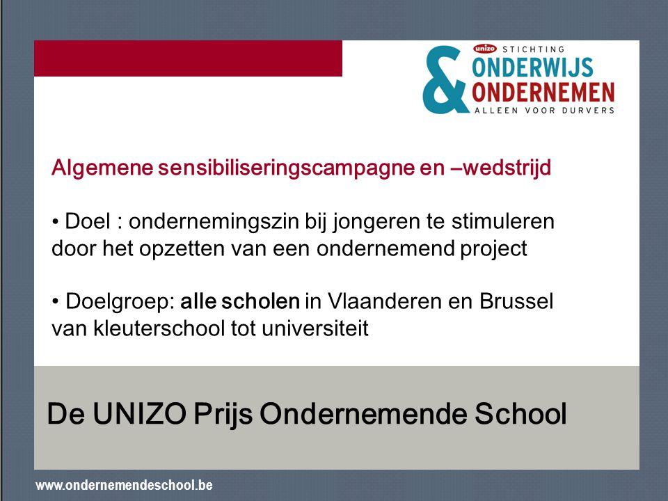 www.ondernemendeschool.be De UNIZO Prijs Ondernemende School Algemene sensibiliseringscampagne en –wedstrijd Doel : ondernemingszin bij jongeren te st