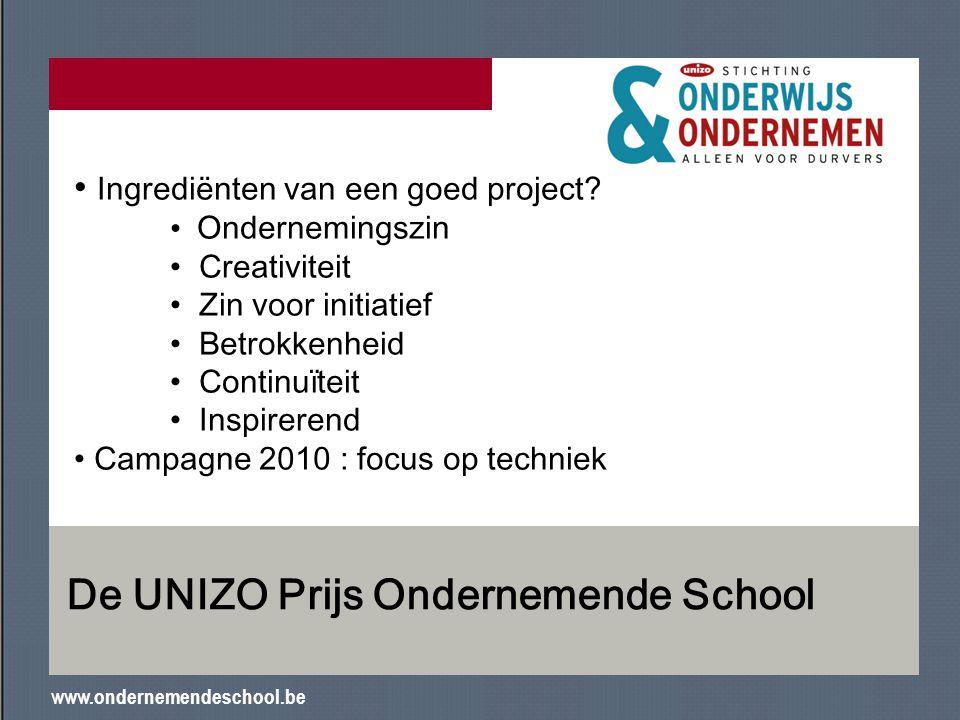 www.ondernemendeschool.be De UNIZO Prijs Ondernemende School Ingrediënten van een goed project? Ondernemingszin Creativiteit Zin voor initiatief Betro