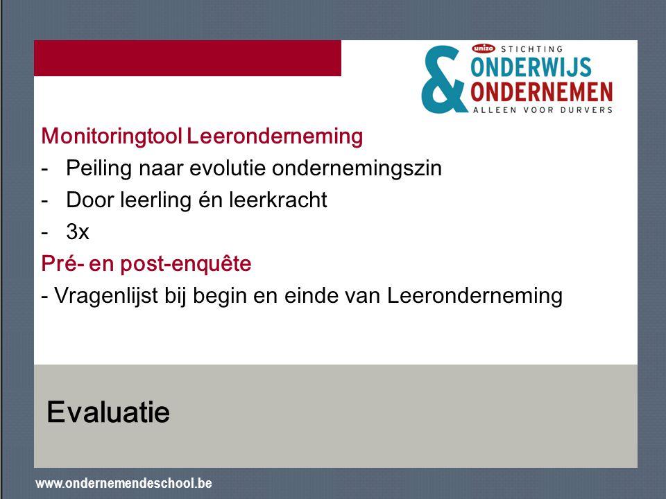 www.ondernemendeschool.be Evaluatie Monitoringtool Leeronderneming -Peiling naar evolutie ondernemingszin -Door leerling én leerkracht -3x Pré- en pos