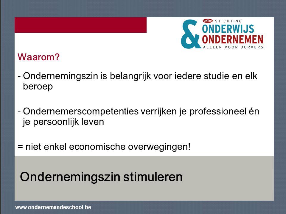 www.ondernemendeschool.be Ondernemingszin stimuleren Waarom? -Ondernemingszin is belangrijk voor iedere studie en elk beroep -Ondernemerscompetenties