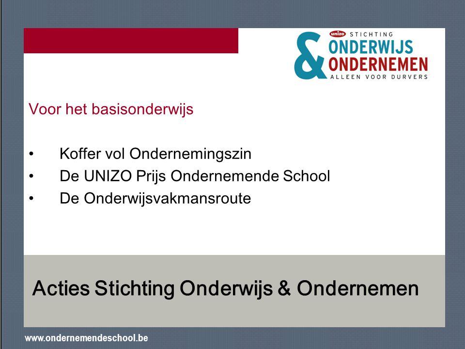 www.ondernemendeschool.be Acties Stichting Onderwijs & Ondernemen Voor het basisonderwijs Koffer vol Ondernemingszin De UNIZO Prijs Ondernemende Schoo