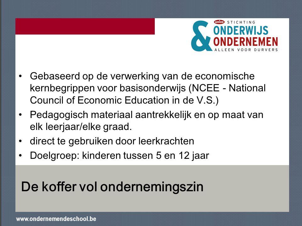 www.ondernemendeschool.be De koffer vol ondernemingszin Gebaseerd op de verwerking van de economische kernbegrippen voor basisonderwijs (NCEE - Nation