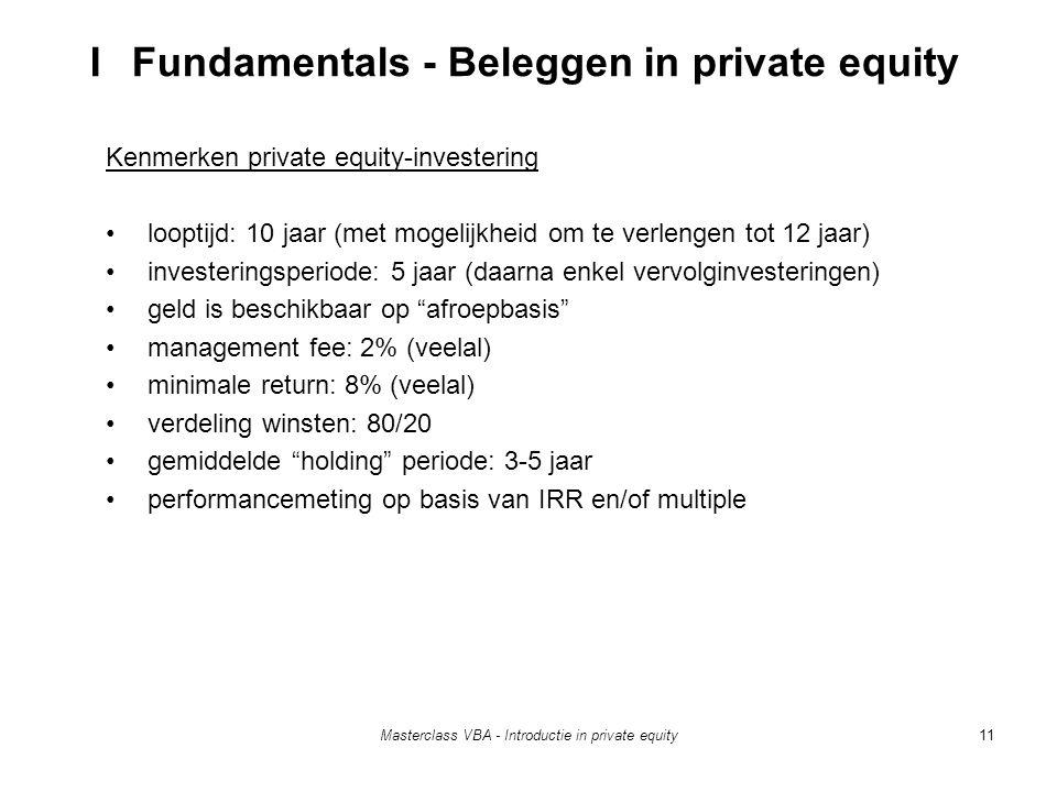 Masterclass VBA - Introductie in private equity11 Kenmerken private equity-investering looptijd: 10 jaar (met mogelijkheid om te verlengen tot 12 jaar