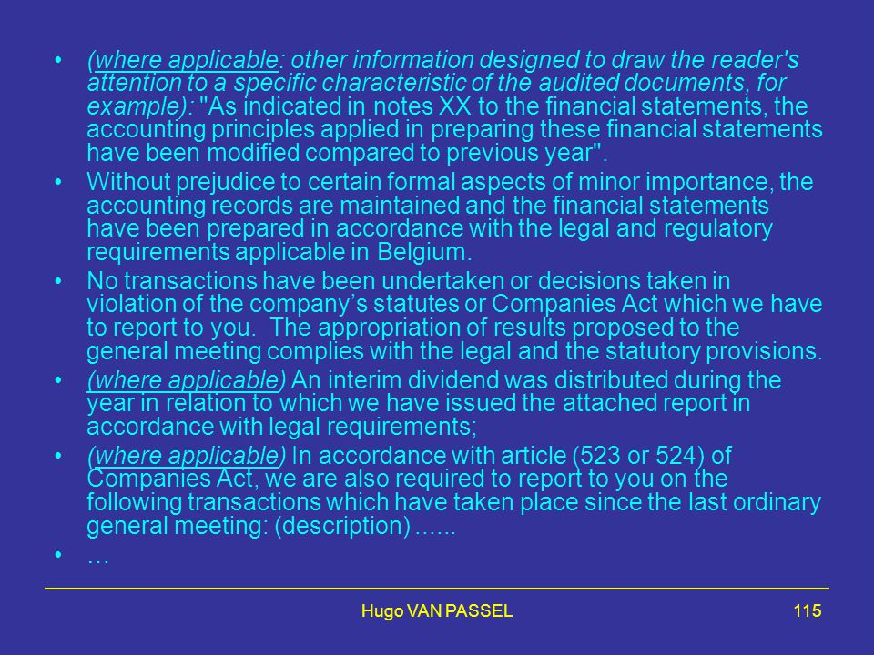 Hugo VAN PASSEL115 (where applicable: other information designed to draw the reader's attention to a specific characteristic of the audited documents,