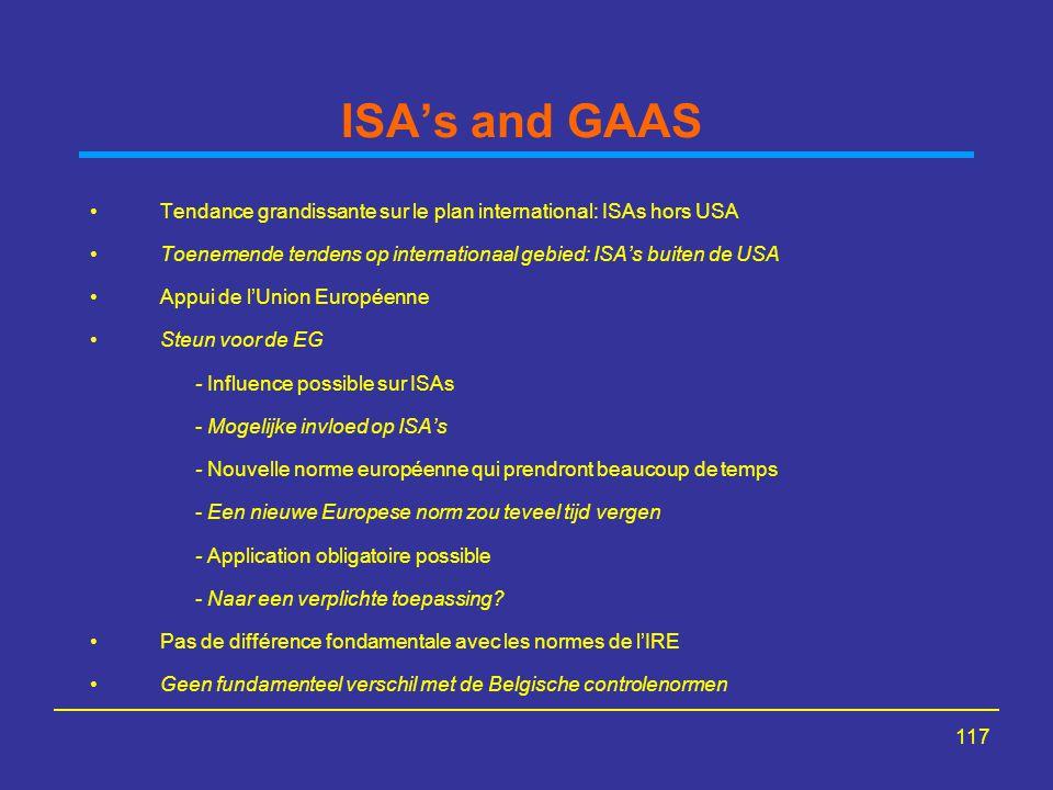117 ISA's and GAAS Tendance grandissante sur le plan international: ISAs hors USA Toenemende tendens op internationaal gebied: ISA's buiten de USA App