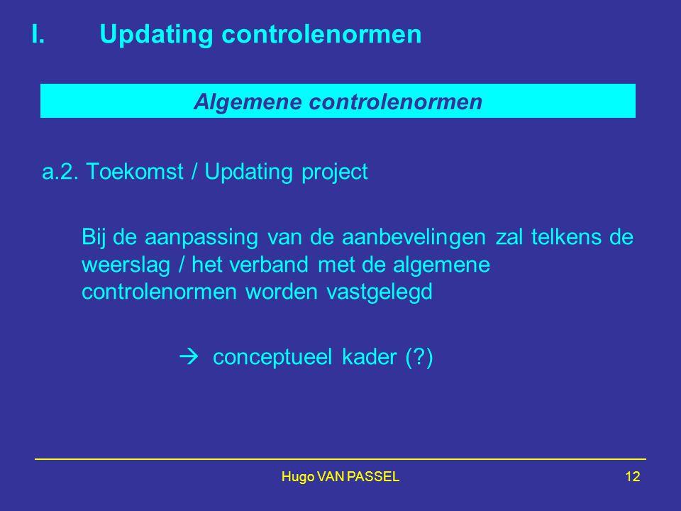 Hugo VAN PASSEL12 I.Updating controlenormen a.2. Toekomst / Updating project Bij de aanpassing van de aanbevelingen zal telkens de weerslag / het verb