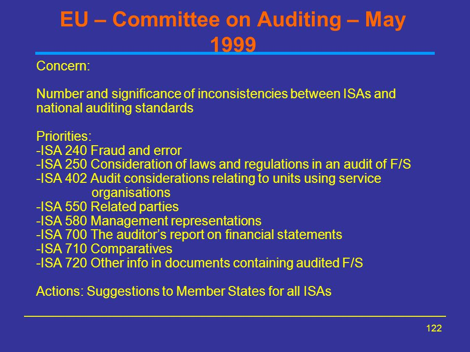 122 EU – Committee on Auditing – May 1999 Concern: Number and significance of inconsistencies between ISAs and national auditing standards Priorities: -ISA 240 Fraud and error -ISA 250 Consideration of laws and regulations in an audit of F/S -ISA 402 Audit considerations relating to units using service organisations -ISA 550 Related parties -ISA 580 Management representations -ISA 700 The auditor's report on financial statements -ISA 710 Comparatives -ISA 720 Other info in documents containing audited F/S Actions: Suggestions to Member States for all ISAs