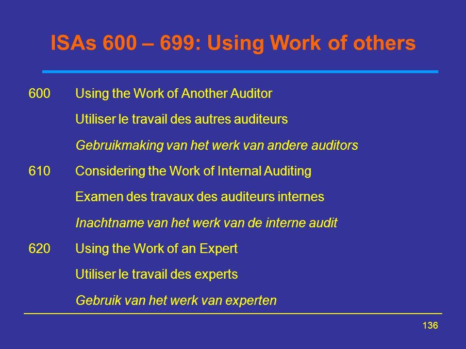 136 ISAs 600 – 699: Using Work of others 600Using the Work of Another Auditor Utiliser le travail des autres auditeurs Gebruikmaking van het werk van
