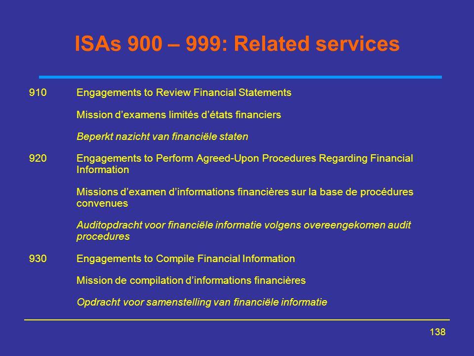 138 ISAs 900 – 999: Related services 910Engagements to Review Financial Statements Mission d'examens limités d'états financiers Beperkt nazicht van fi