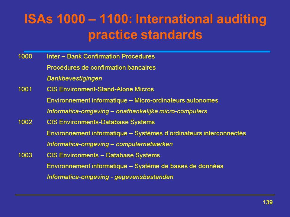 139 ISAs 1000 – 1100: International auditing practice standards 1000Inter – Bank Confirmation Procedures Procédures de confirmation bancaires Bankbeve