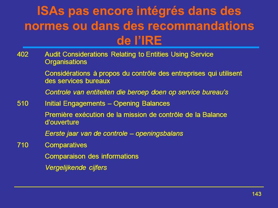 143 ISAs pas encore intégrés dans des normes ou dans des recommandations de l'IRE 402Audit Considerations Relating to Entities Using Service Organisat