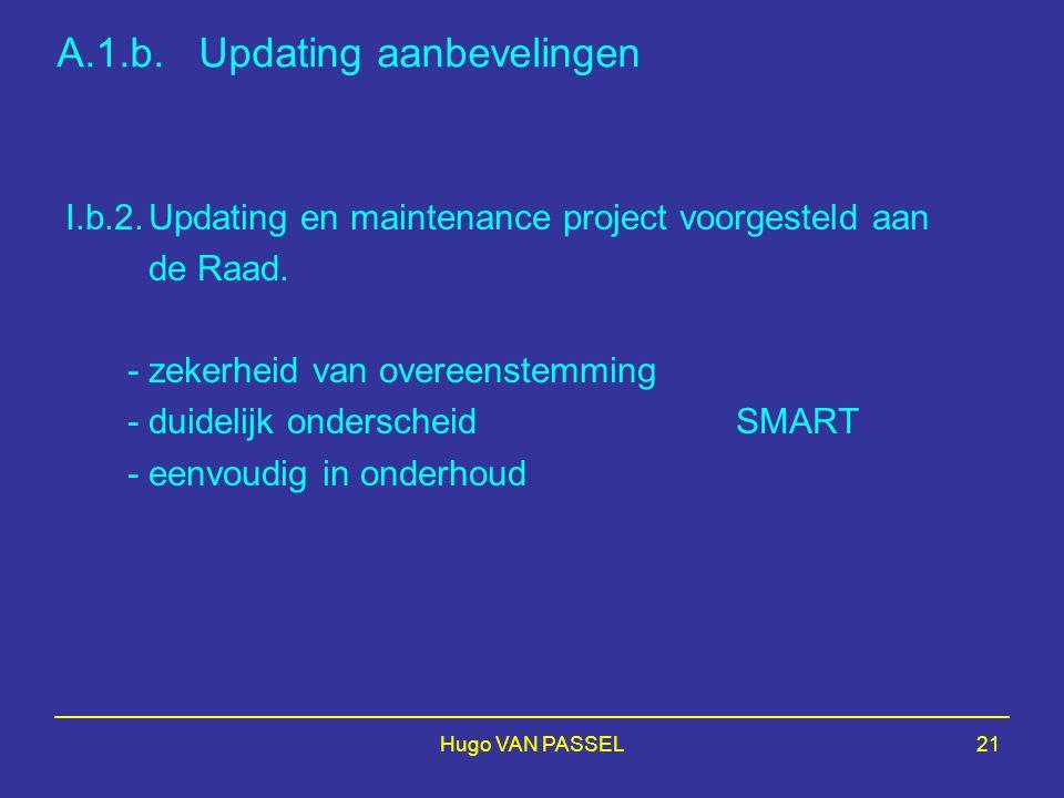 Hugo VAN PASSEL21 A.1.b. Updating aanbevelingen I.b.2.Updating en maintenance project voorgesteld aan de Raad. -zekerheid van overeenstemming - duidel