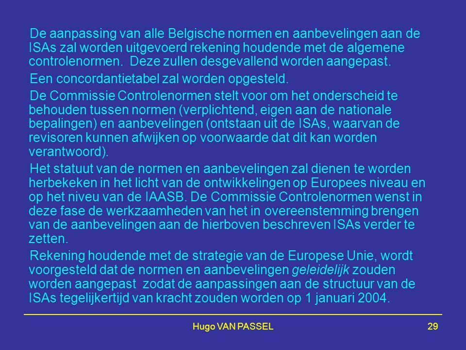 Hugo VAN PASSEL29 De aanpassing van alle Belgische normen en aanbevelingen aan de ISAs zal worden uitgevoerd rekening houdende met de algemene control