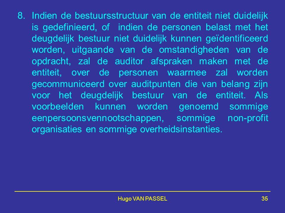 Hugo VAN PASSEL35 8.Indien de bestuursstructuur van de entiteit niet duidelijk is gedefinieerd, of indien de personen belast met het deugdelijk bestuu