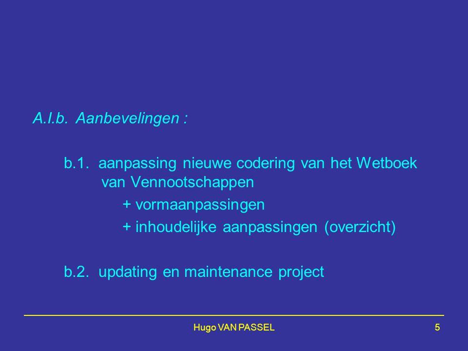 Hugo VAN PASSEL5 A.I.b.Aanbevelingen : b.1. aanpassing nieuwe codering van het Wetboek van Vennootschappen + vormaanpassingen + inhoudelijke aanpassin