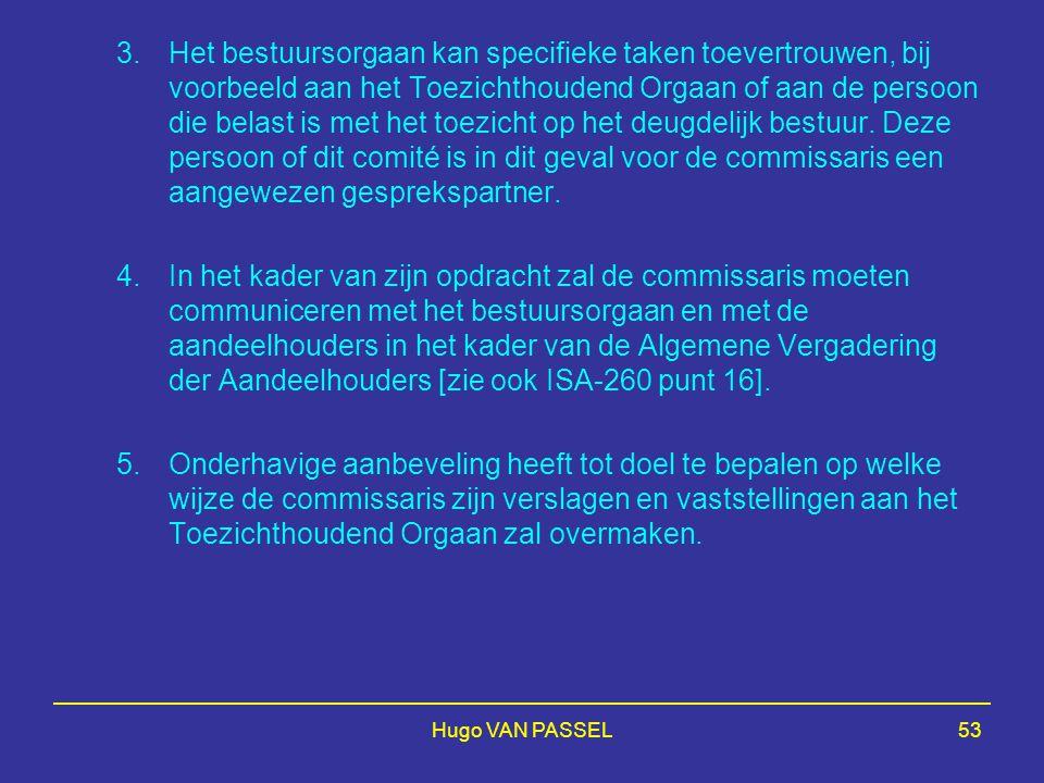Hugo VAN PASSEL53 3.Het bestuursorgaan kan specifieke taken toevertrouwen, bij voorbeeld aan het Toezichthoudend Orgaan of aan de persoon die belast is met het toezicht op het deugdelijk bestuur.