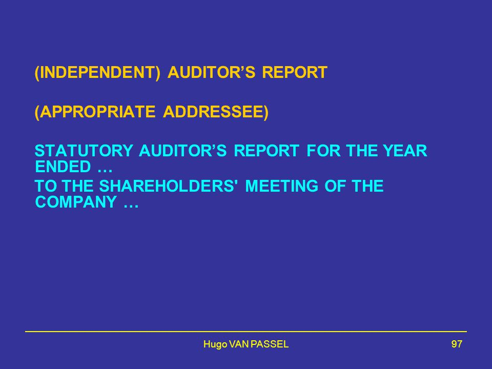 Hugo VAN PASSEL97 (INDEPENDENT) AUDITOR'S REPORT (APPROPRIATE ADDRESSEE) STATUTORY AUDITOR'S REPORT FOR THE YEAR ENDED … TO THE SHAREHOLDERS' MEETING