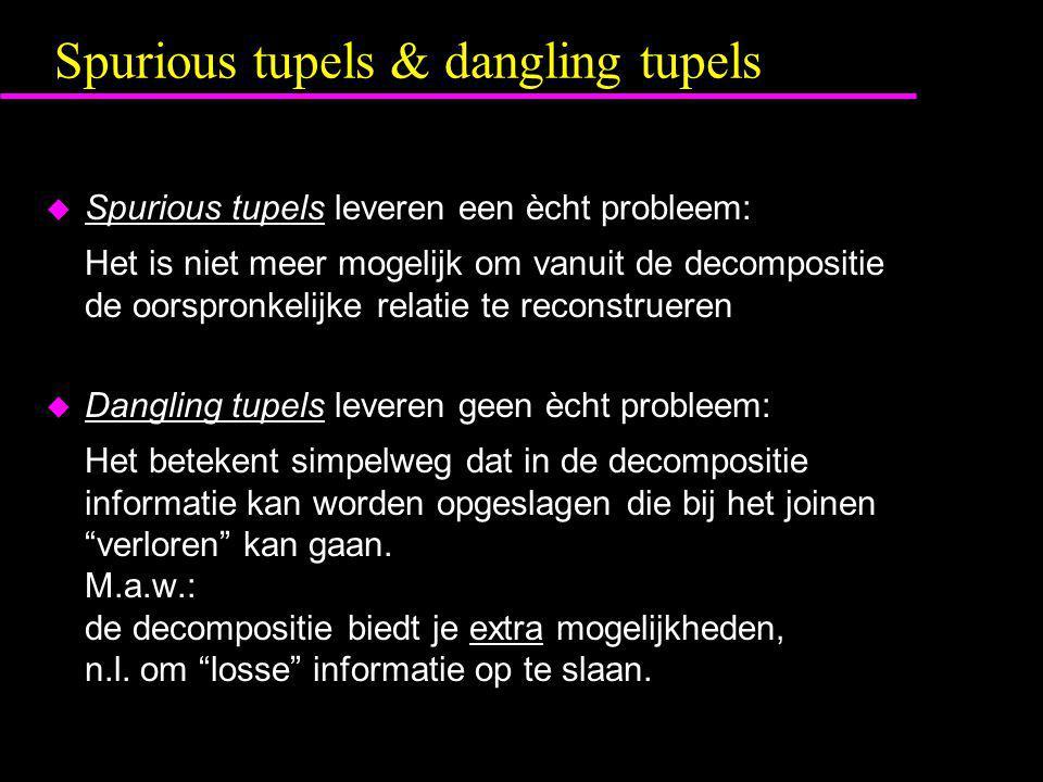 Spurious tupels & dangling tupels  Spurious tupels leveren een ècht probleem: Het is niet meer mogelijk om vanuit de decompositie de oorspronkelijke