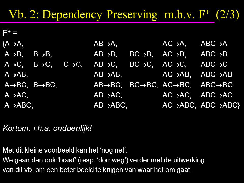 Vb. 2: Dependency Preserving m.b.v.