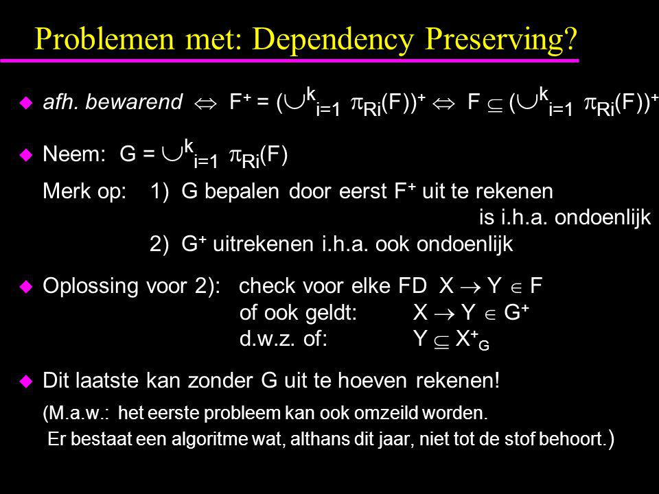 Problemen met: Dependency Preserving.  afh.