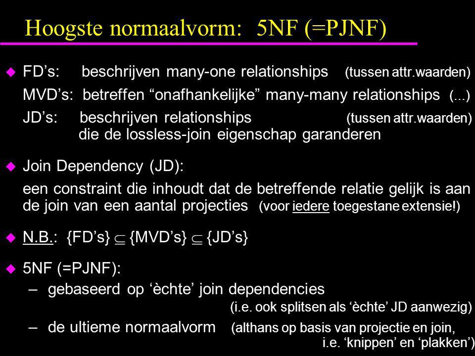 """Hoogste normaalvorm: 5NF (=PJNF)  FD's: beschrijven many-one relationships (tussen attr.waarden) MVD's: betreffen """"onafhankelijke"""" many-many relation"""