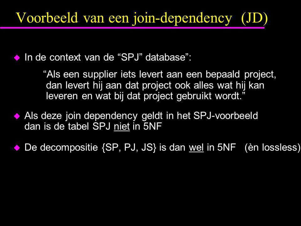 """Voorbeeld van een join-dependency (JD)  In de context van de """"SPJ"""" database"""": """"Als een supplier iets levert aan een bepaald project, dan levert hij a"""
