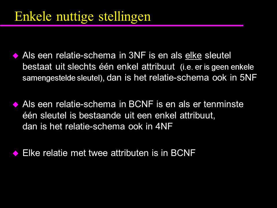 Enkele nuttige stellingen  Als een relatie-schema in 3NF is en als elke sleutel bestaat uit slechts één enkel attribuut (i.e. er is geen enkele samen
