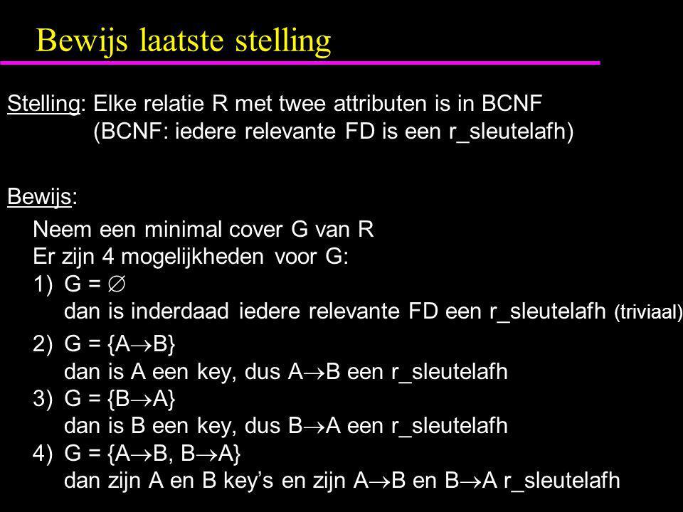 Bewijs laatste stelling Stelling:Elke relatie R met twee attributen is in BCNF (BCNF: iedere relevante FD is een r_sleutelafh) Bewijs: Neem een minimal cover G van R Er zijn 4 mogelijkheden voor G: 1)G =  dan is inderdaad iedere relevante FD een r_sleutelafh (triviaal) 2)G = {A  B} dan is A een key, dus A  B een r_sleutelafh 3)G = {B  A} dan is B een key, dus B  A een r_sleutelafh 4)G = {A  B, B  A} dan zijn A en B key's en zijn A  B en B  A r_sleutelafh