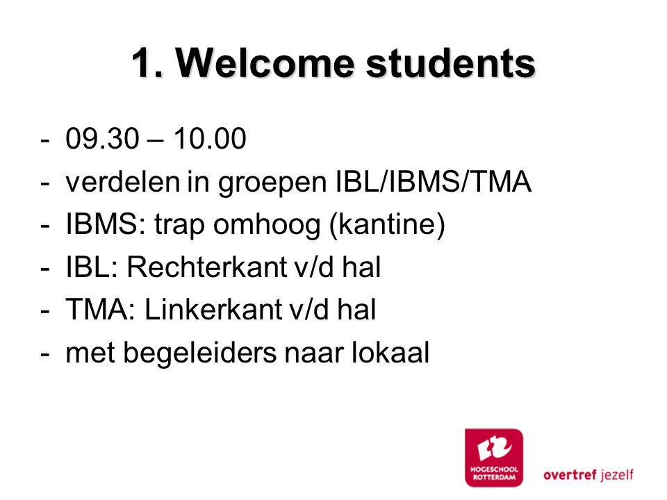 1. Welcome students -09.30 – 10.00 -verdelen in groepen IBL/IBMS/TMA -IBMS: trap omhoog (kantine) -IBL: Rechterkant v/d hal -TMA: Linkerkant v/d hal -