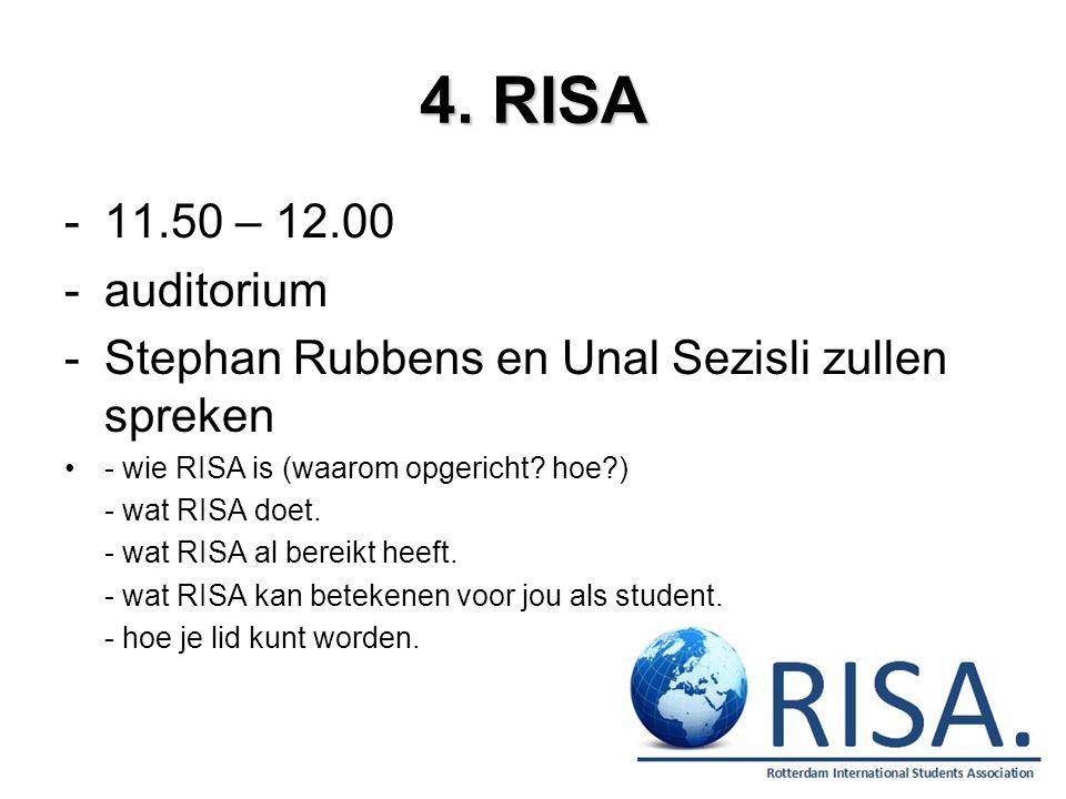 4. RISA -11.50 – 12.00 -auditorium -Stephan Rubbens en Unal Sezisli zullen spreken - wie RISA is (waarom opgericht? hoe?) - wat RISA doet. - wat RISA