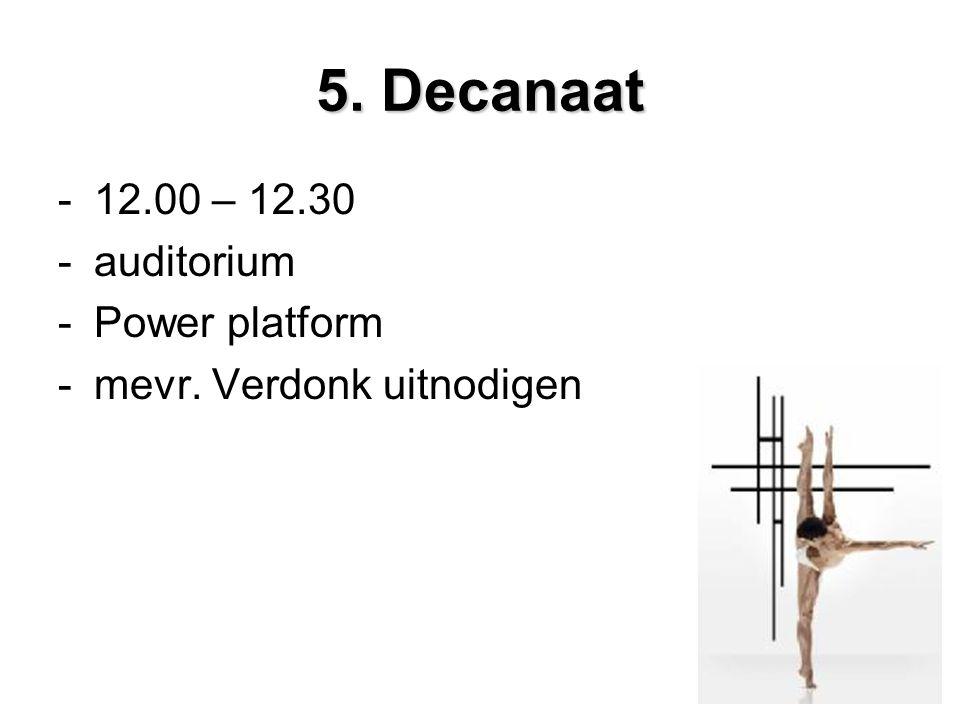 5. Decanaat -12.00 – 12.30 -auditorium -Power platform -mevr. Verdonk uitnodigen