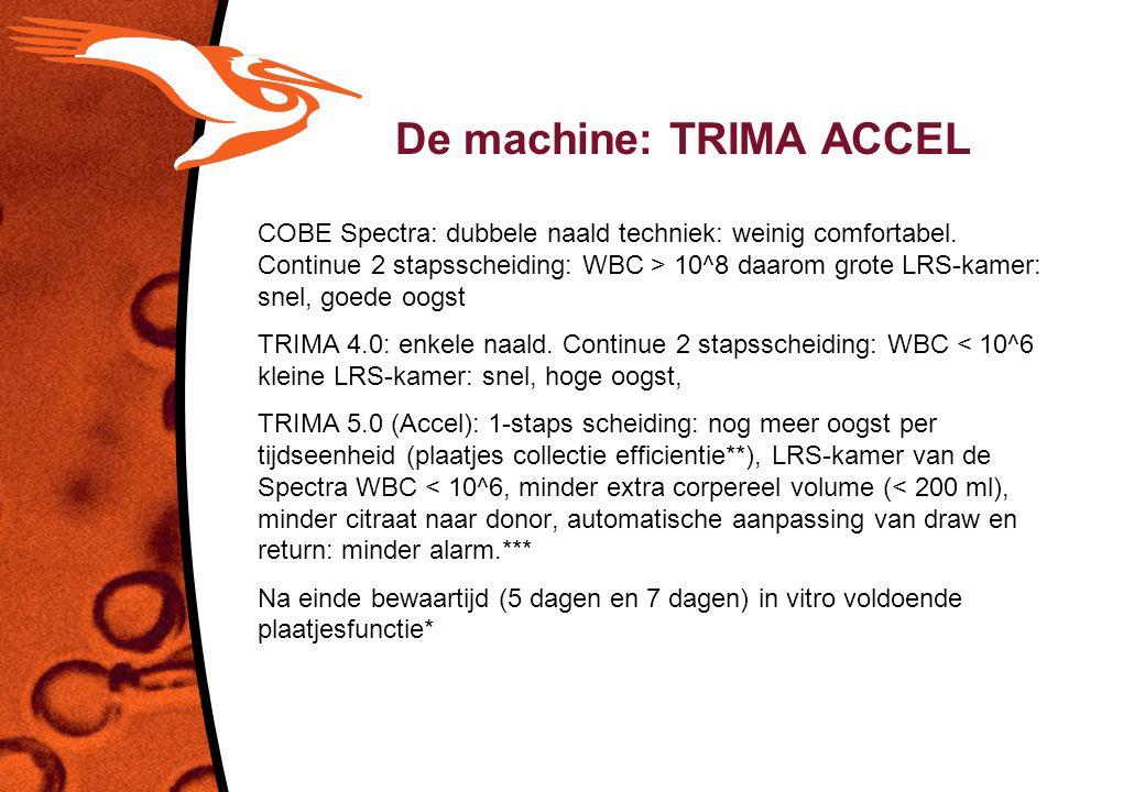 De machine: TRIMA ACCEL COBE Spectra: dubbele naald techniek: weinig comfortabel. Continue 2 stapsscheiding: WBC > 10^8 daarom grote LRS-kamer: snel,