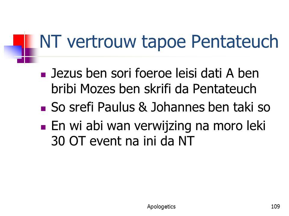 NT vertrouw tapoe Pentateuch Jezus ben sori foeroe leisi dati A ben bribi Mozes ben skrifi da Pentateuch So srefi Paulus & Johannes ben taki so En wi abi wan verwijzing na moro leki 30 OT event na ini da NT Apologetics109