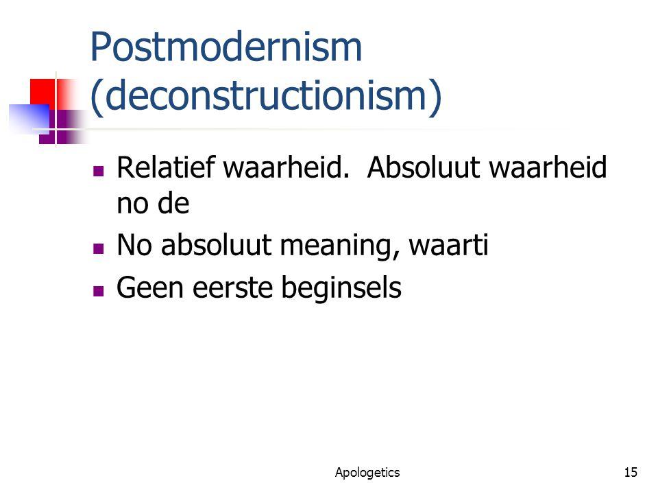 Postmodernism (deconstructionism) Relatief waarheid.