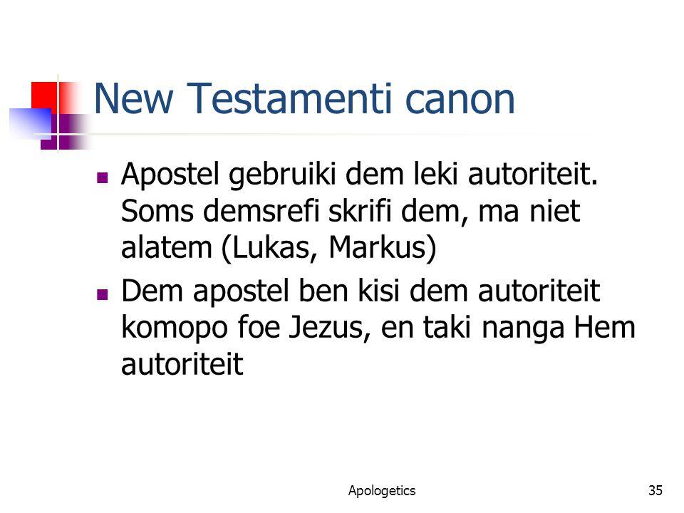 New Testamenti canon Apostel gebruiki dem leki autoriteit.