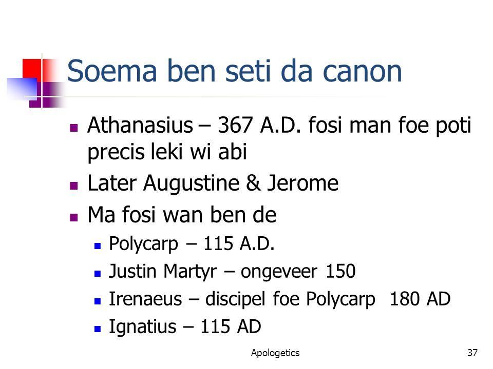 Soema ben seti da canon Athanasius – 367 A.D.