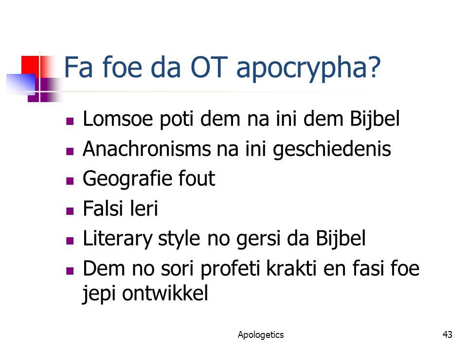Fa foe da OT apocrypha.
