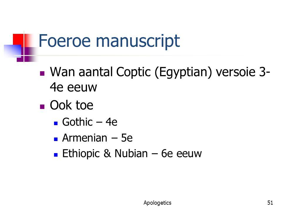 Foeroe manuscript Wan aantal Coptic (Egyptian) versoie 3- 4e eeuw Ook toe Gothic – 4e Armenian – 5e Ethiopic & Nubian – 6e eeuw Apologetics51