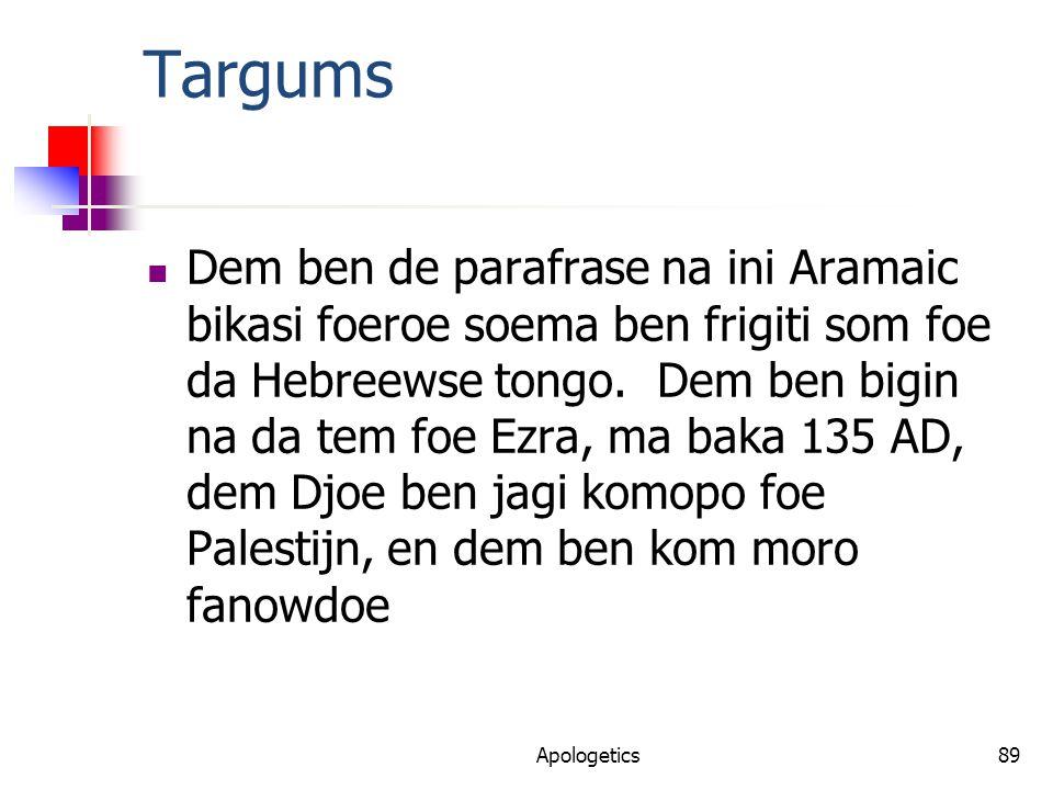 Targums Dem ben de parafrase na ini Aramaic bikasi foeroe soema ben frigiti som foe da Hebreewse tongo.