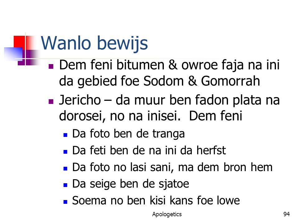 Wanlo bewijs Dem feni bitumen & owroe faja na ini da gebied foe Sodom & Gomorrah Jericho – da muur ben fadon plata na dorosei, no na inisei.