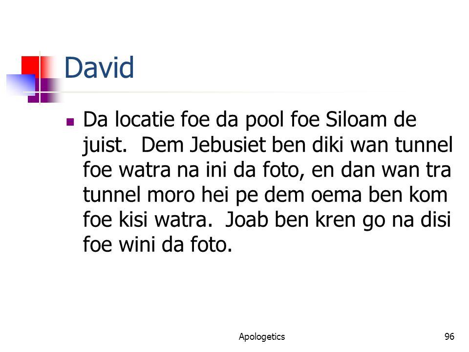 David Da locatie foe da pool foe Siloam de juist.