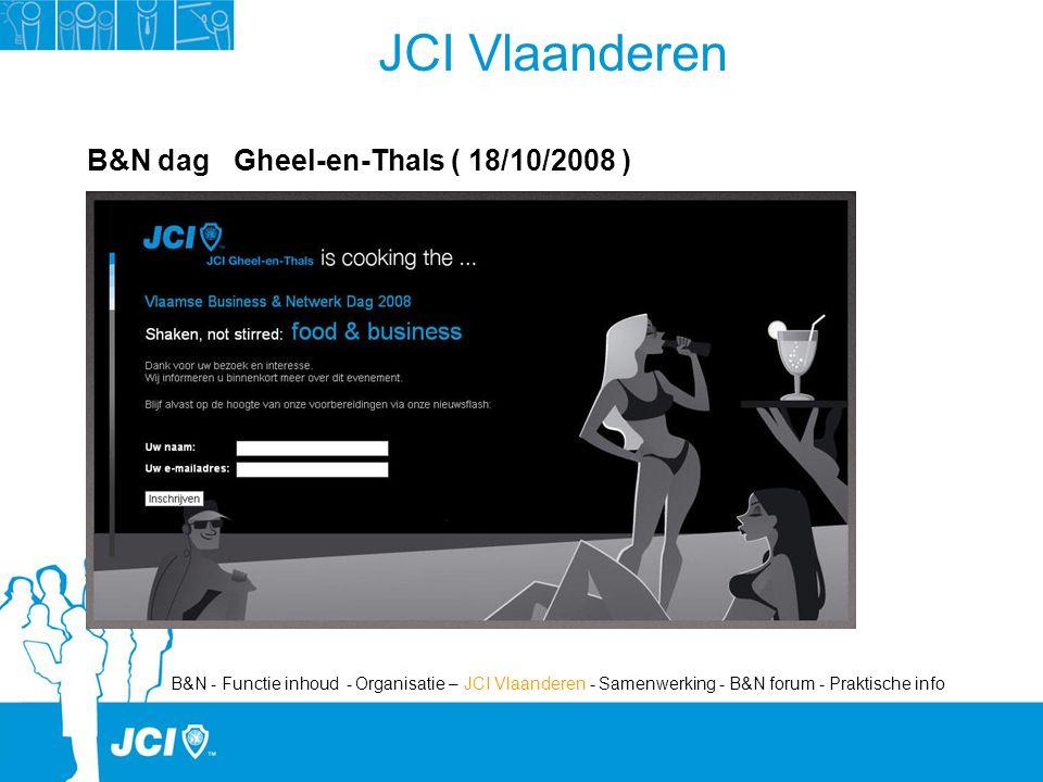 JCI Vlaanderen B&N dag Gheel-en-Thals ( 18/10/2008 ) B&N - Functie inhoud - Organisatie – JCI Vlaanderen - Samenwerking - B&N forum - Praktische info
