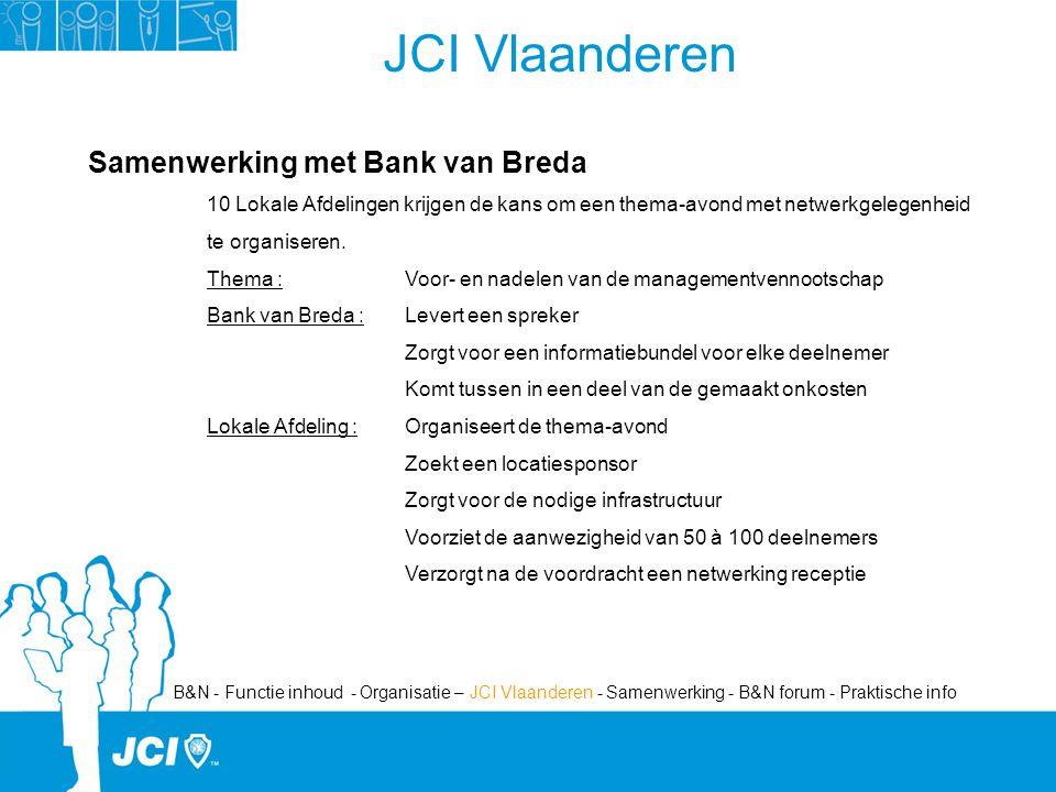 JCI Vlaanderen Samenwerking met Bank van Breda 10 Lokale Afdelingen krijgen de kans om een thema-avond met netwerkgelegenheid te organiseren.