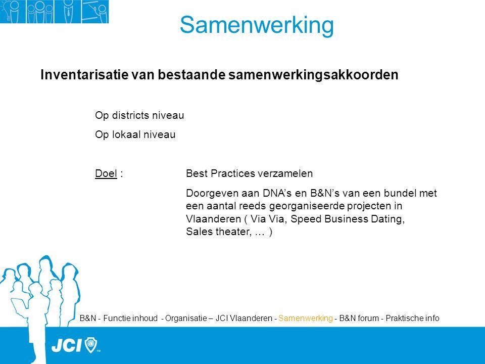 Samenwerking Inventarisatie van bestaande samenwerkingsakkoorden Op districts niveau Op lokaal niveau Doel :Best Practices verzamelen Doorgeven aan DNA's en B&N's van een bundel met een aantal reeds georganiseerde projecten in Vlaanderen ( Via Via, Speed Business Dating, Sales theater, … ) B&N - Functie inhoud - Organisatie – JCI Vlaanderen - Samenwerking - B&N forum - Praktische info